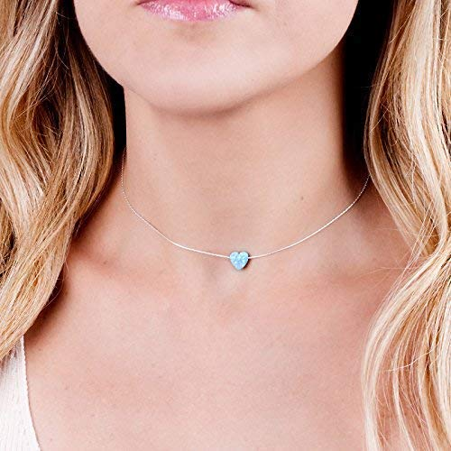 Sterling Silver Choker Necklace with Blue Opal Heart - Designer Handmade Collar - Length: 13.5 inch + 3 inch Extender ()