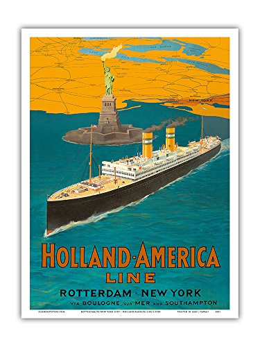 Rotterdam to New York City - Holland-America Line - Statue of Liberty - Vintage Ocean Liner Travel Poster c.1950 - Master Art Print - 9in x 12in - Holland America Line