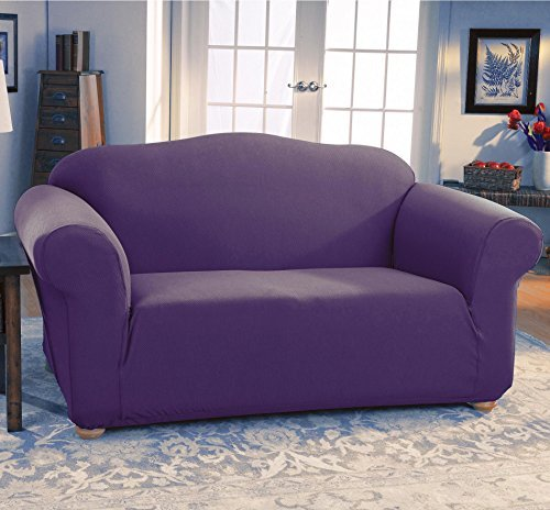 Amazon JERSEY STRETCH Form Fit Couch Cover 2 Pc Slipcover SetSofa Loveseat Covers PURPLE Color Home Kitchen