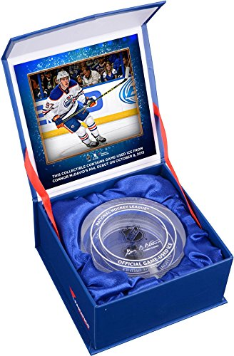 Connor McDavid Edmonton Oilers NHL Debut Crystal Puck - Filled With Ice From NHL Debut - Fanatics Authentic Certified