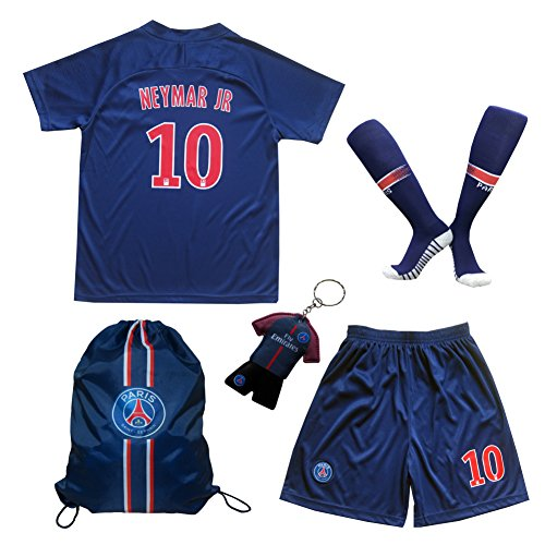 LES TRICOT 2018/2019 Paris Home #10 NEYMAR JR. Football Futbol Soccer Kids Jersey Shorts Socks Set Youth Sizes (7-8 YEARS) (Paris Short)