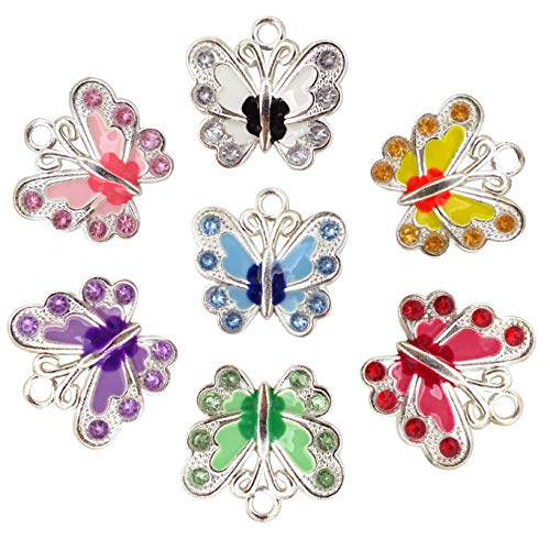Enamel Butterfly Charm - Honbay 14PCS Enamel Butterfly Charm Pendants with Crystal for Jewelry Making or DIY Crafts