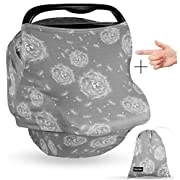 Premium Soft Grey Multi-Use Cover for Nursing, Carseat Canopy, Baby Car Seat, Breastfeeding Scarf, Shopping Cart, for Boys and Girls - 4 in 1 Nursing Cover - Best Baby Shower Gift Set (Gray)