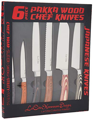 La Cote 6 Piece Chef Knives Set Japanese Stainless Steel Wood Handle in Gift Box (6 PC Chef Knife Set - Pakka Multi) ()