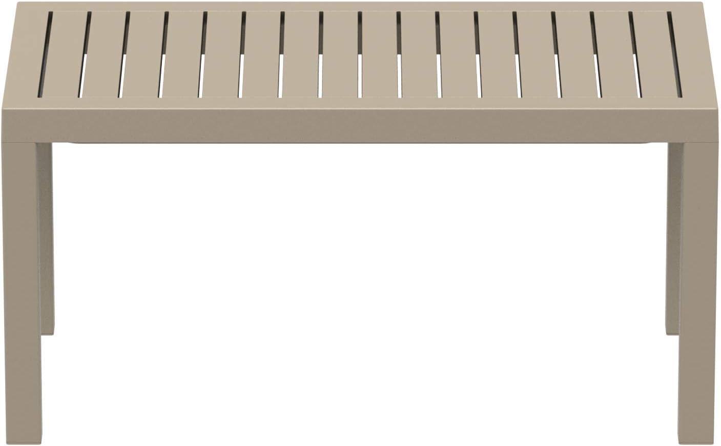 Tavolino Salotto Giardino in Robusta Plastica Resistente ai Raggi UV e Facile da Pulire I Tavolo caff/è da Balcone Alt 45 cm Tortora CLP Tavolo Giardino Rettangolare Ocean in Polipropilene
