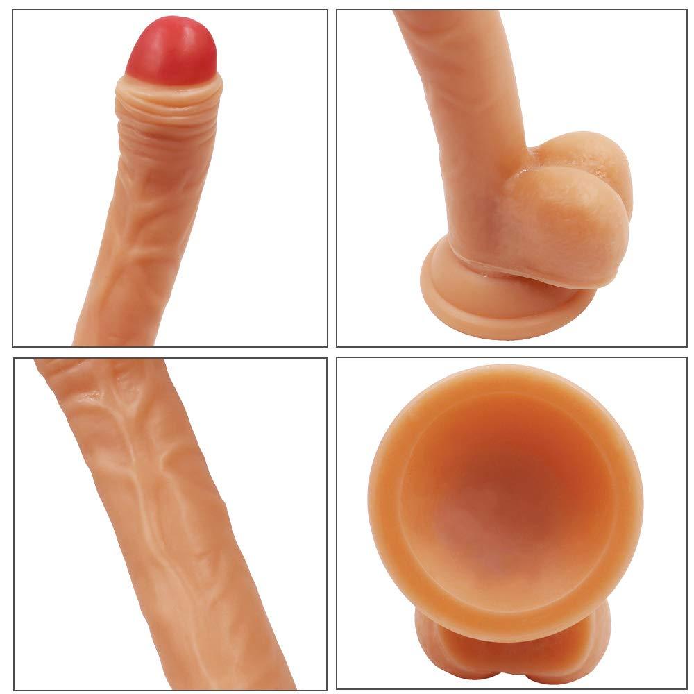 19.5 Cm Consolador Enorme - Real Hombres De Hombres Real Dong Pene Con Ventosa Y Testículos,Flesh c622ee