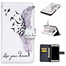 Uming® Relief Embossed Painted Colorful Pattern Print PU case [ Feather Birds Dream | for IPhone 5S 5 5G SE IPhone5S IPhoneSE ] Artificial-leather Flip Holster with Stand Holder Credit Card Slot Wallet Hasp Magnet Magnetic Button Buckle Shell Protective Mobile Cellphone Case Cover Bag