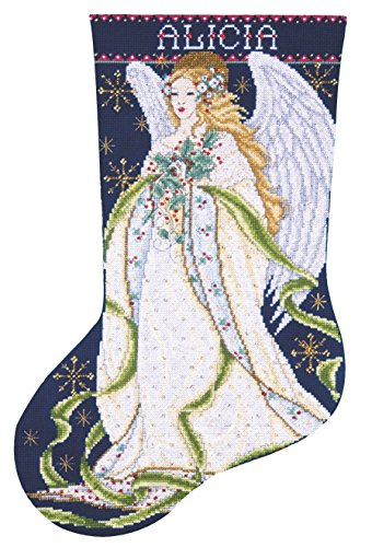 Tobin 14 Count Holly Angel Stocking Counted Cross Stitch Kit, 17-Inch Long ()