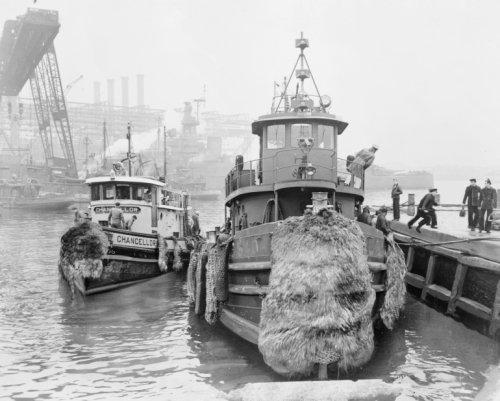 1946 February. photo U.S. Navy tugboat docks at the Brooklyn navy yard pier a d4