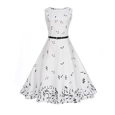50er Vintage Kleider,Resplend Damen Vintage Noten Drucken A-linie Ohne Arm Rockabilly  Kleid Cocktailkleider Swing Kleider 1950er Retro Sommerkleid  ... 0037885610