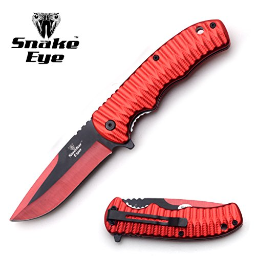 (Snake Eye Tactical Red Two Toned Blade Action Assist Folding Knife (RED))