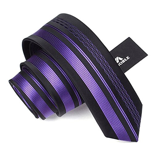 Manoble Men's Striped Necktie Purple 2.36 Inches Slim Woven Tie