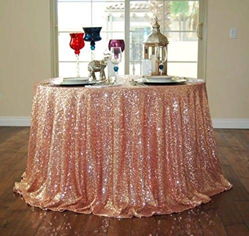 - B-COOL Rose Gold Round Sequin Tablecloth 120