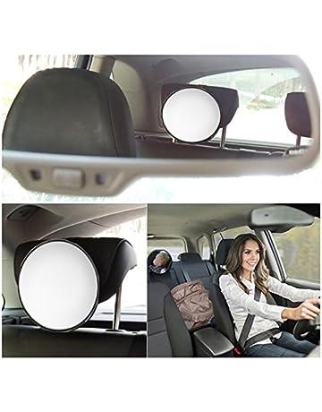 Elegante seguridad del autom/óvil Vista f/ácil Espejo del asiento trasero Beb/é mirando hacia atr/ás Guarda infantil Cuidado infantil Forma redonda Beb/é Ni/ños Monitor COLOR: blanco