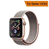 YANCH Compatible with for Apple Watch Sport Loop Band, Lightweight Breathable Nylon Replacement Band Compatible with for iWatch Apple Watch Series 4/3/2/1, Sport, Edition, 42mm Pinksand