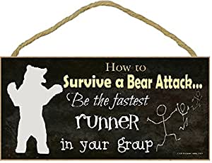 Amazon.com: Black How to Survive A Bear Attack Be Fastest Runner Funny Camping Sign 5 ...