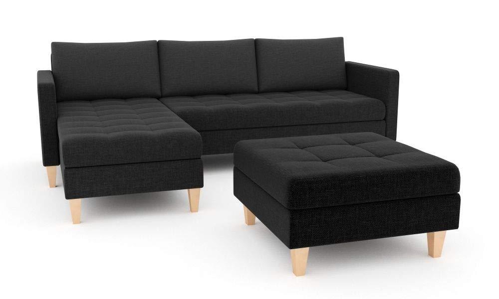 Couch mit Bettk/ästen! Lux 06 Links Best Sofa-Garnitur Sofini Ecksofa Oslo mit Hocker und Schlaffunktion