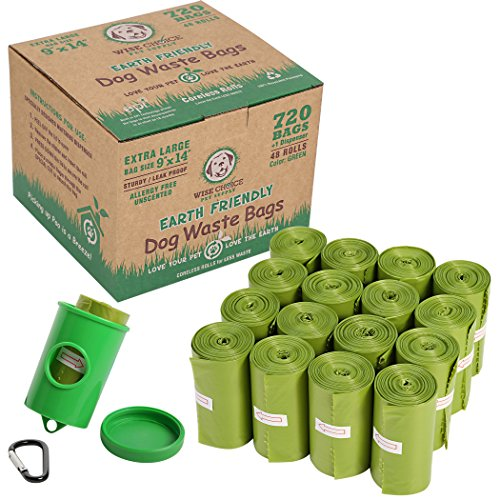 Large Selection Box - Wise Choice Poop Bags, Extra Large Pet Dog Waste Bags, 720 Dog Poop bags for Large Dog and Cat Litter Box Pickup, Earth Friendly, Unscented, Leak-Proof, Green, Free Dispenser & Metal Leash Clip