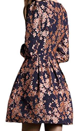 erdbeerloft - Damen Kleid tailliert knielang, 40 (L), Rot-Blau