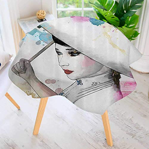 CANCAKA Circular Solid Polyester Tablecloth-Eastern Woman Girl with Oriental Umbrella Drawing with Watercolor Brushstrokes for Wedding Restaurant Buffet Table Decoration 40