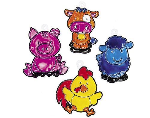 24 Farm Animal Plastic Suncatchers for Kids Glass Painting Crafts