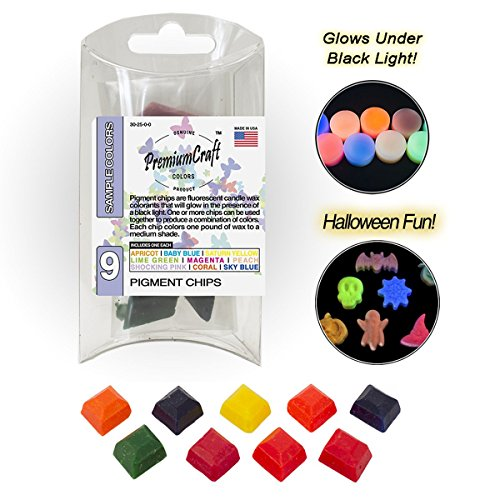 PremiumCraft Candle Dye Pigment Chip Sample Pack, 9 Colors (for Black Light)