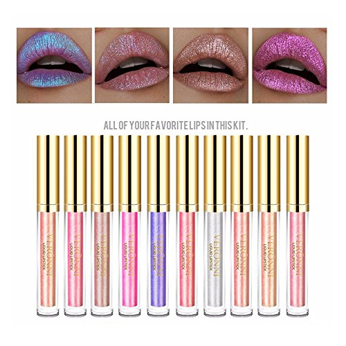 Diamond Lipstick - 5 Colors Diamond Shinning Iridescent Mermaid Metallic Shimmer Nude Color Liquid Lipstick Lip gloss (Full Set (1-10))