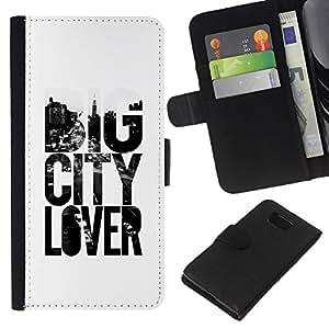 KLONGSHOP // Tirón de la caja Cartera de cuero con ranuras para tarjetas - Gran amante de la ciudad Lema Texto Blanco Negro - Samsung ALPHA G850 //