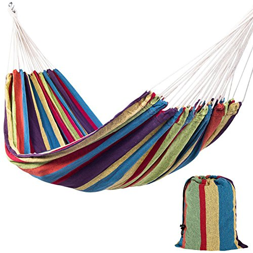 Lazy Daze Hammocks Portable Double Size Canvas Hammock with Carry Bag, 450 Pounds Capacity (Tropical Stripe) (Alone Hammocks Stand)
