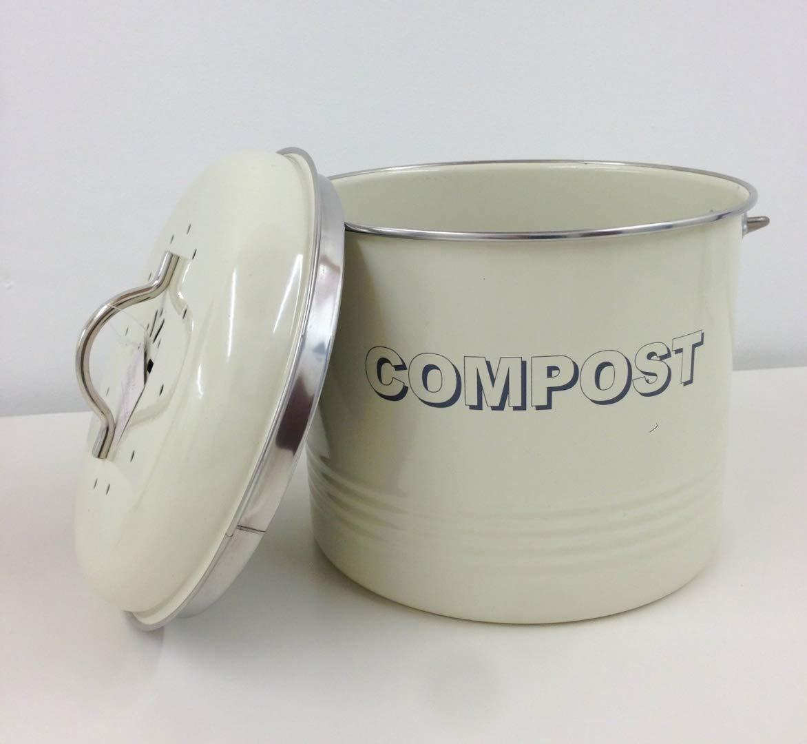Lesser & Pavey Küchenabfalleimer für Kompost, aus Metall, im Retro- / Vintage-Stil, mit Filter, cremefarben, 19 LP22225