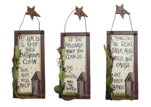 - Outhouse Etiquette Bathroom Wood Signs | Vintage Rustic Home Bathroom Laundry Decor | Size Small | Set of 3 | 6 x 2.75 Inch