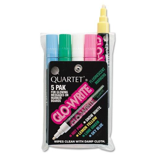 - Quartet - Glo-Write Fluorescent Markers, Five Assorted Colors, 5/Set 5090 (DMi ST
