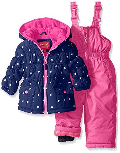 Pink Platinum Baby Girls' Infant Foil Star Printed Snowsuit, Navy, 12 Months