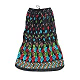 Womens Gothic Skirt Black Printed Cotton A-line Gypsy Flirty Long Skirts