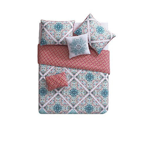 (Victoria Classics VCNY Home Windsor 4 Piece Reversible Quilt Cover Set, Twin/Twin XL, Multicolor)
