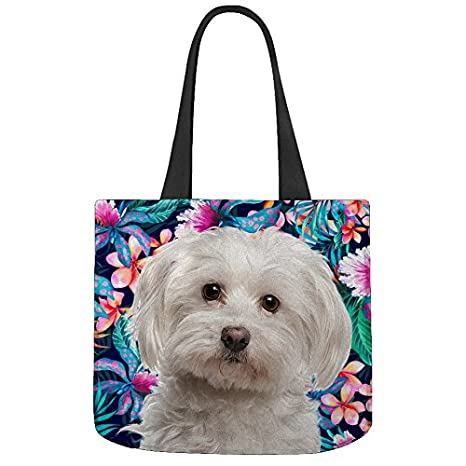 00fbe2fd43 Maltés perro flor patrón impreso – personalizado diseño reutilizable  respetuosa con el medio ambiente Canvas Tote