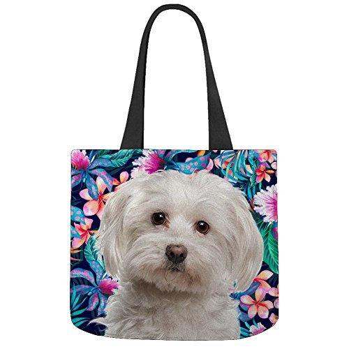 Maltés perro flor patrón impreso - personalizado diseño ...