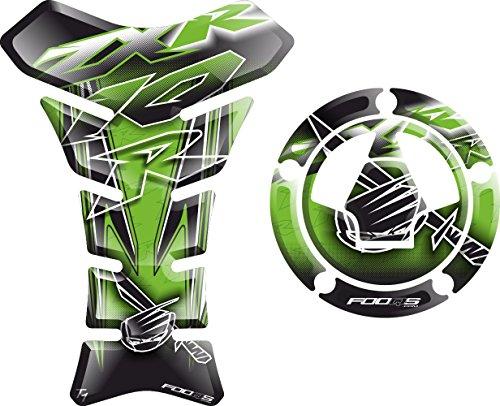 Set tankpad + cappad motorcycle Fuel Tank 3 d 3d Gel Decal Gas Cap Pad Cappad Cap-pad Cover Sticker Tankpad Tank Pad Tank-pad for Kawasaki ZX10R ZX 10R ZX10 Z X 10 R (Green) - Fuel Cap Pad