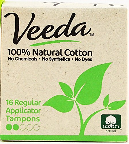 Veeda, 100% Hypoallergenic, Natural Cotton, Chemical Free, Unscented,Regular Tampons with Applicator, 16 count (100% Cotton Tampons)