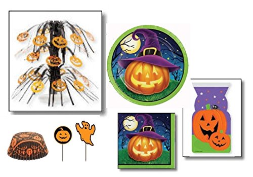 October Eve Halloween Party Bundle - Party for 8 with Centerpiece and Cupcake Bake Cups with (Halloween Cauldron Cake)