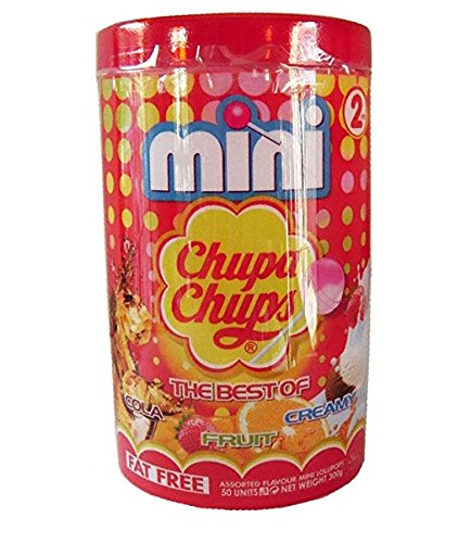 Chupa Chups Mini Lollipops - 50 Units with Plastic Can (Cola Fruit Creamy) (3 Pack)
