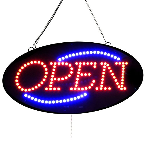 Service Open Sign Led (Oval Shape LED Open Signs -Extra Bright LEDs, Can be seen Through Tinted Window, ON/Off, Blinking, Flashing Option Open - 10