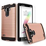 LG G Stylo Case, 2-Piece Style Hybrid Shockproof Hard Case Cover + Circle(TM) Stylus Touch Screen Pen And Screen Protector - Rose Gold