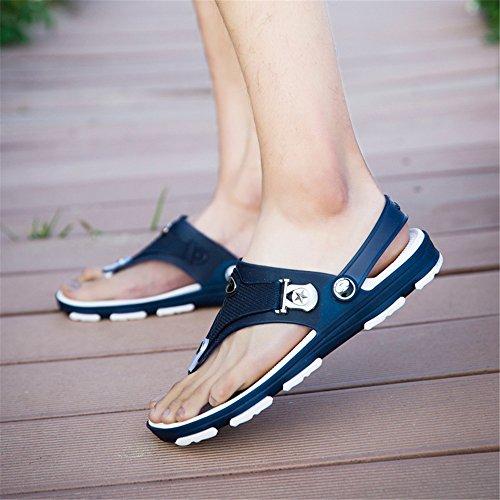 estate strap piatto 5 uomo interruttore 8 uomo Fashion a tacco sandali sandali sport Blue Backless da Nero Wenquanshoes UK YSx5awFqzF