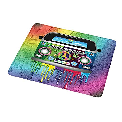 Anti-Slip Gaming Mouse Mat/Pad Groovy,Old Style Hippie Van with Dripping Rainbow Paint Mid 60s Youth Revolution Movement Theme,Multi,Gaming Non-Slip Rubber Large Mousepad 9.8