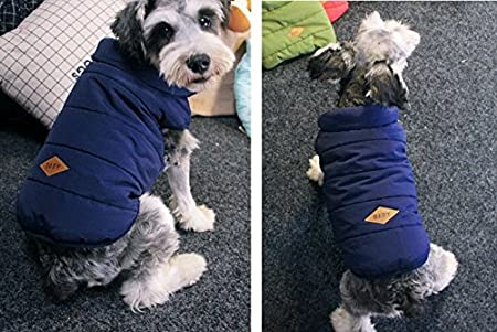 PENIVO Dog Clothes Winter Warm Coats and Jackets,Puppy Dog Vest Apparel for Small Medium Large Dogs Feather Clothes S, Blue