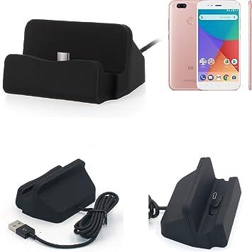 KS-Trade Dock USB para el Xiaomi Mi A1, Negro | estación de Carga Base Cargador de Escritorio Estacion Compacto y Discreto. Type C Docking Station