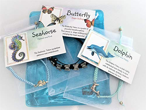 Smiling Wisdom - Macramé Totem Friendship Bracelet Seahorse, Butterfly, Dolphin Gift Sets - 3 Spirit Animal Gifts For Children, Tweens, Teens, Girls - Team Morale Events, Ice Breakers, Favors, Stoc