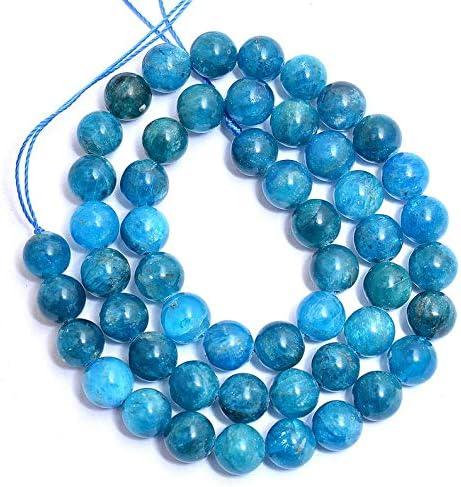 AAA Naturales 1 de piedras preciosas perlas de neón de apatita Strand para hacer la joyería | 10 mm alrededor de granos de apatita | Apatita los granos flojos redondos lisos | Strand 15