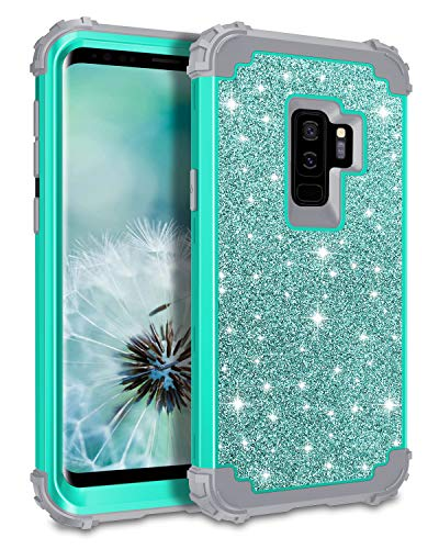 Lontect Compatible Galaxy S9 Plus Case Luxury Glitter Sparkle Bling Heavy Duty Hybrid Sturdy Armor High Impact Shockproof Protective Cover Case Samsung Galaxy S9 Plus - Shiny Teal